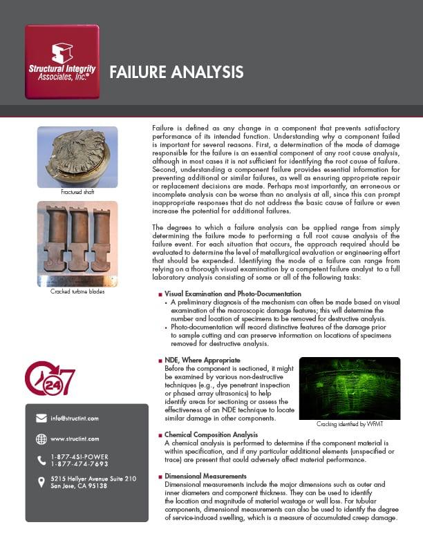Structural Integrity Associates | Failure Analysis MCF-003-01 11.5.20