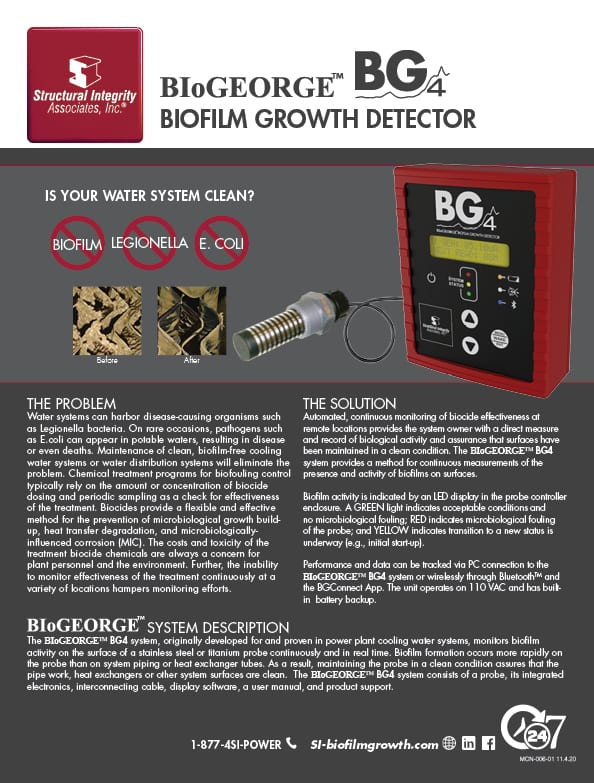 Structural Integrity Associates | BIoGEORGE BG4 Biofilm Growth Detector | Is Your Water System Clean