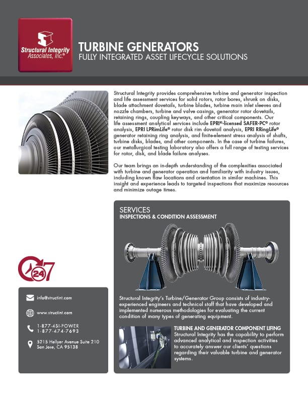 Structural Integrity Associates | Turbine Generators Services | At A Glance